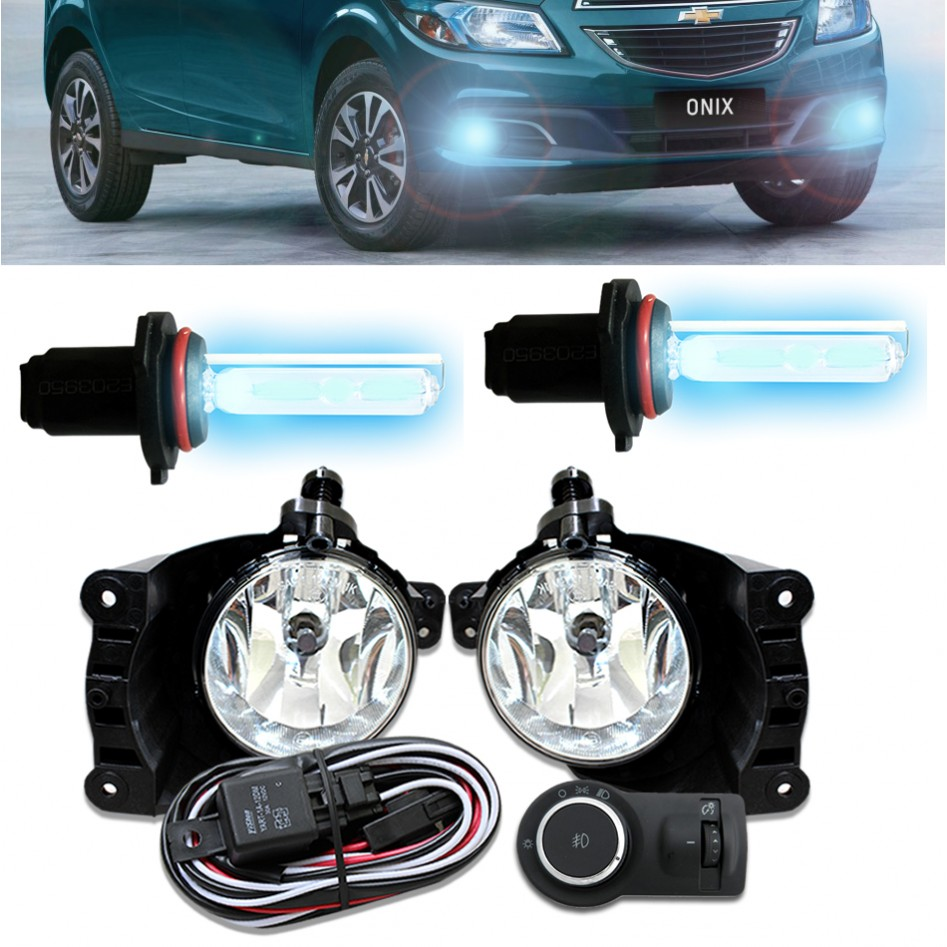 Kit Farol de Milha Neblina Chevrolet Onix Cobalt Spin Prisma 2013 á 2015 - Interrup Mod Original + Kit Xenon H27 Com Reator Digital - 6000K ou 8000K