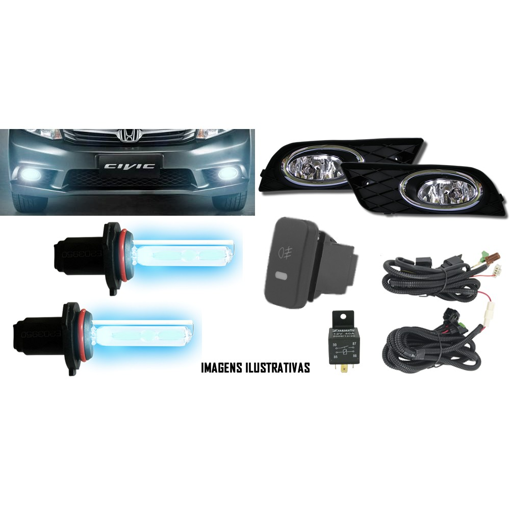 Kit Farol de Milha Neblina Honda New Civic 2012 / 2013 / 2014 - Interruptor Modelo Original + Kit Xenon H11 Com Reator Digital -  6000K ou 8000K