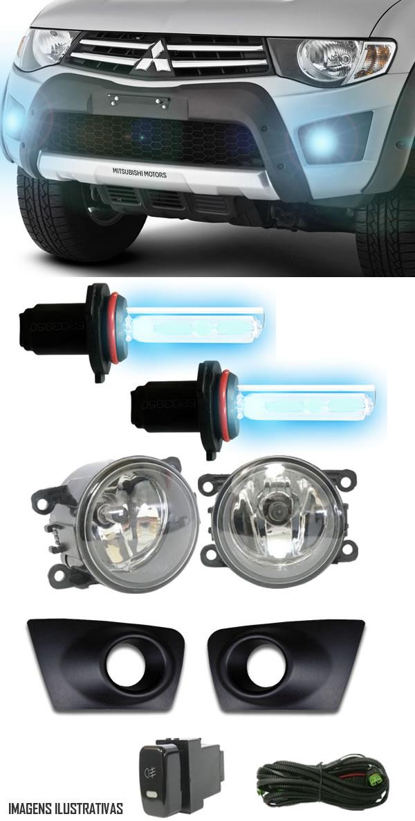 Kit Farol de Milha Neblina Mitsubishi L200 Triton HLS GLS GLX 2013 / 2014 / 2015  - Interruptor Modelo Original + Kit Xenon H11 Com Reator Digital -  6000K ou 8000K