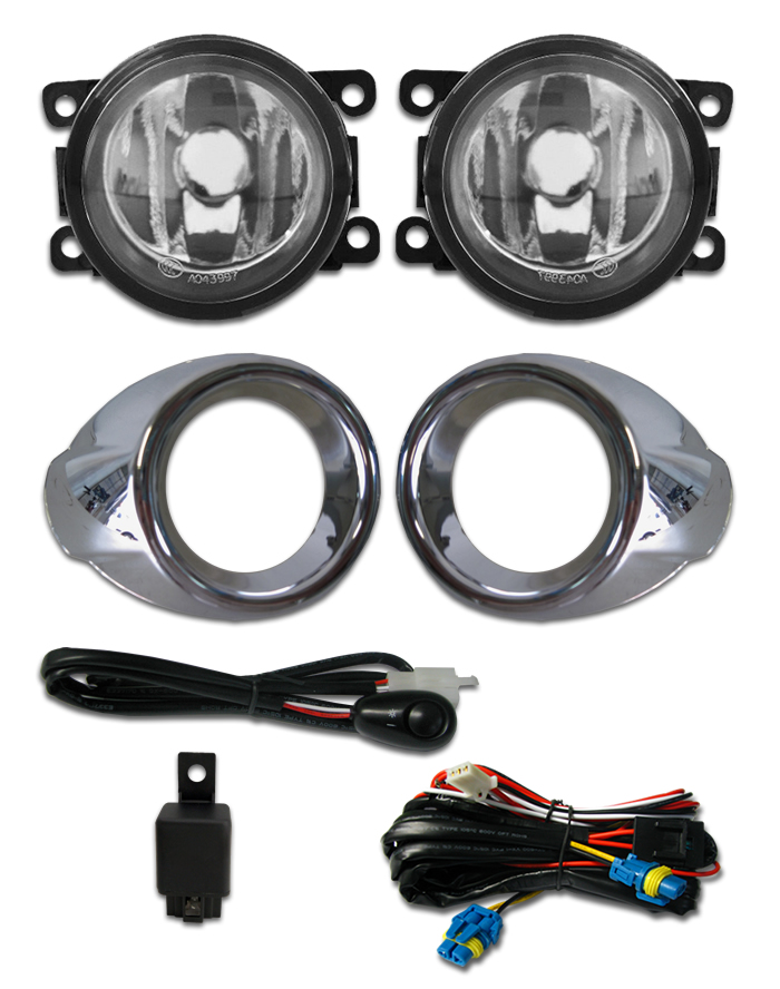Kit Farol de Milha Neblina Ford Focus 2014 2015  - Interruptor Alternativo + Aro Cromo