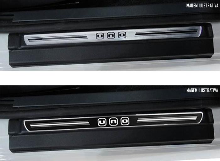 Jogo Soleira Premium Elegance Fiat Novo Uno 2010 2011 2012 2013 2014 - 4 Portas ( Vinil + Resinada 8 Peças )