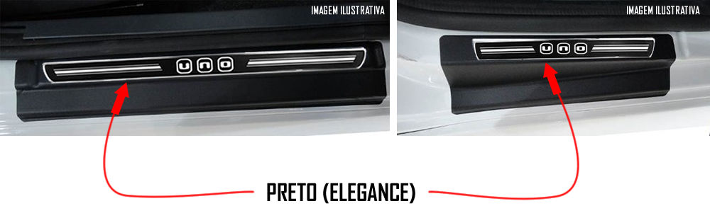 Jogo Soleira Premium Elegance Fiat Novo Uno 2010 2011 2012 2013 2014 2015 2016 2017 2018 - 4 Portas ( Vinil + Resinada 8 Peças )