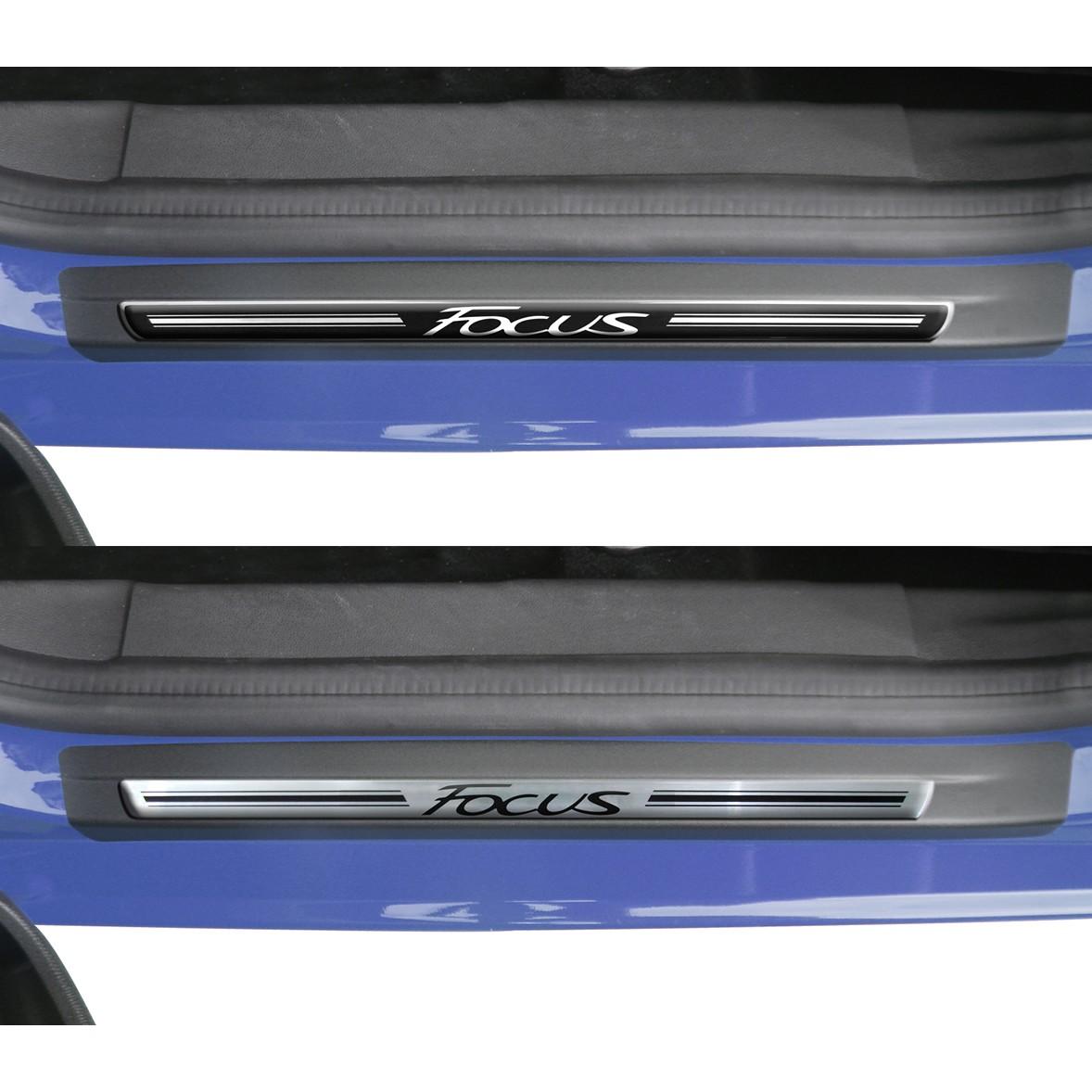 Jogo Soleira Premium Elegance Ford Novo Focus 2014 2015 - 4 Portas ( Vinil + Resinada 8 Peças )