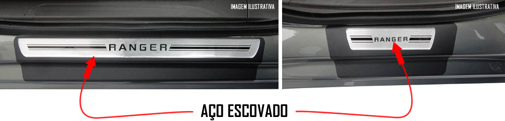 Jogo Soleira Premium Elegance Ford Nova Ranger 2013 2014 - 4 Portas ( Vinil + Resinada 8 Peças )