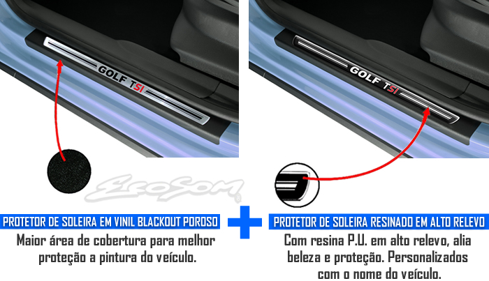 Jogo Soleira Premium Elegance Vw Golf TSI 2014 2015 - 4 Portas ( Vinil + Resinada 8 Peças )