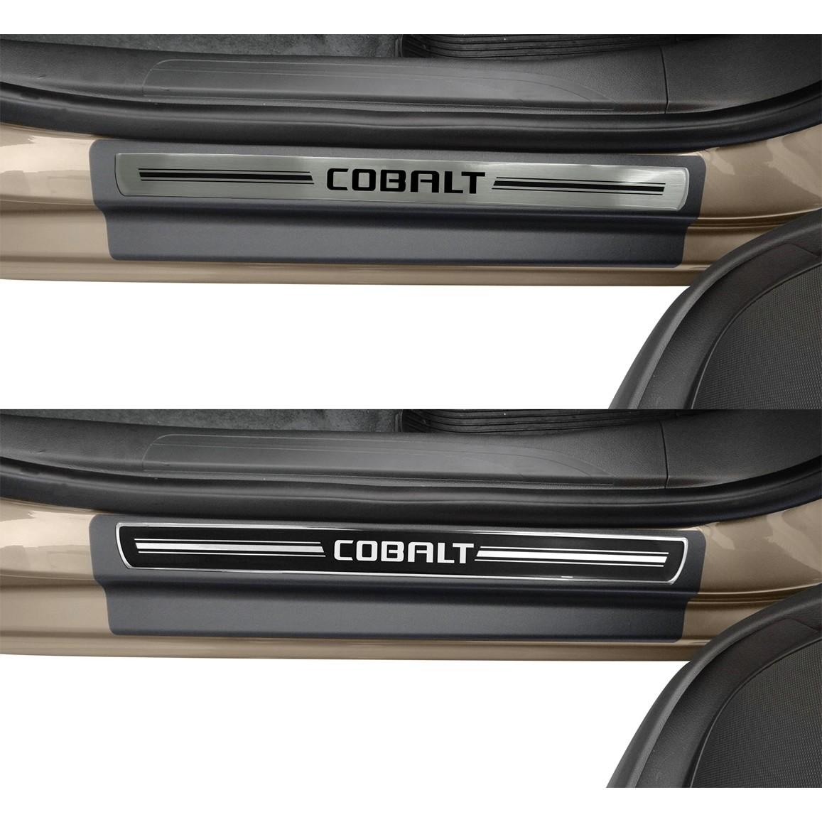 Jogo Soleira Premium Elegance Chevrolet Cobalt 2011 2012 2013 2014 - ( Vinil + Resinada 4 Peças )