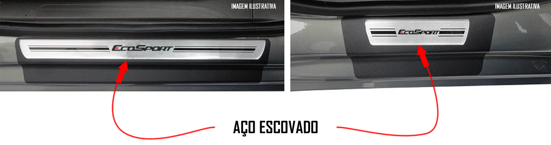 Jogo Soleira Premium Elegance Ford Ecosport Nova Geração 2012 2013 2014 - ( Vinil + Resinada 4 Peças )