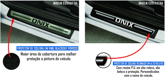 Jogo Soleira Premium Elegance Chevrolet Onix 2013 á 2015 - ( Vinil + Resinada 4 Peças )