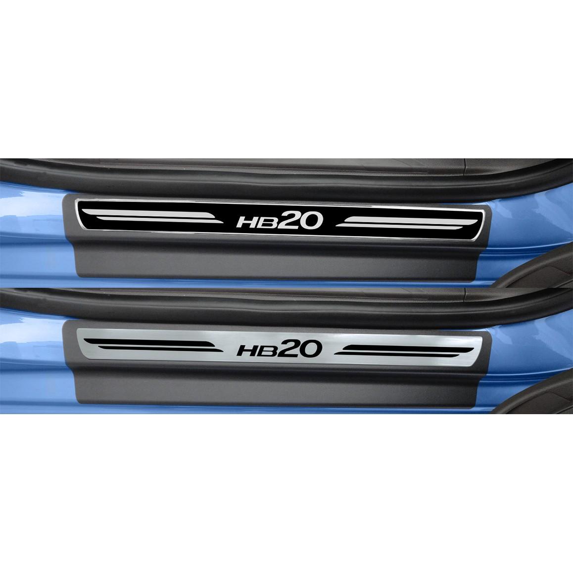 Jogo Soleira Premium Elegance Hyundai HB20 2012 2013 2014 2015 - ( Vinil + Resinada 4 Peças )