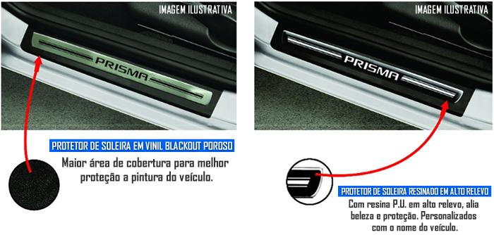 Jogo Soleira Premium Elegance Chevrolet Novo Prisma 2013 2014 - ( Vinil + Resinada 4 Peças )