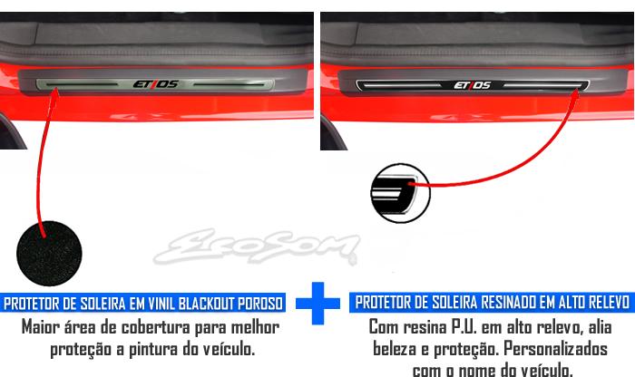 Jogo Soleira Premium Elegance Toyota Etios 2012 2013 2014 2015 - 4 Portas ( Vinil + Resinada 8 Peças )