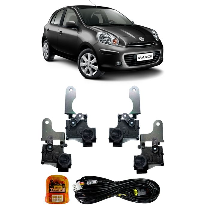 Kit Trava Eletrica Tragial Nissan March 2012 2013 2014 2015 - Mono Serventia 4 Portas