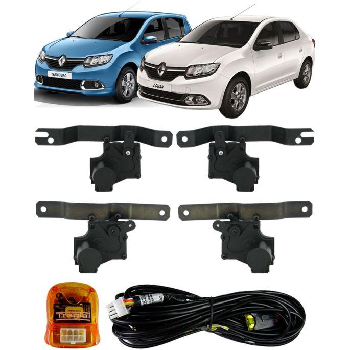 Kit Trava Eletrica Tragial Renault Sandero / Logan 2015 - Mono Serventia 4 Portas