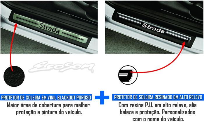 Jogo Soleira Premium Elegance Fiat Strada 2009 2010 2011 2012 2013 2014 2015 - 2 Portas ( Vinil + Resinada 4 Peças )
