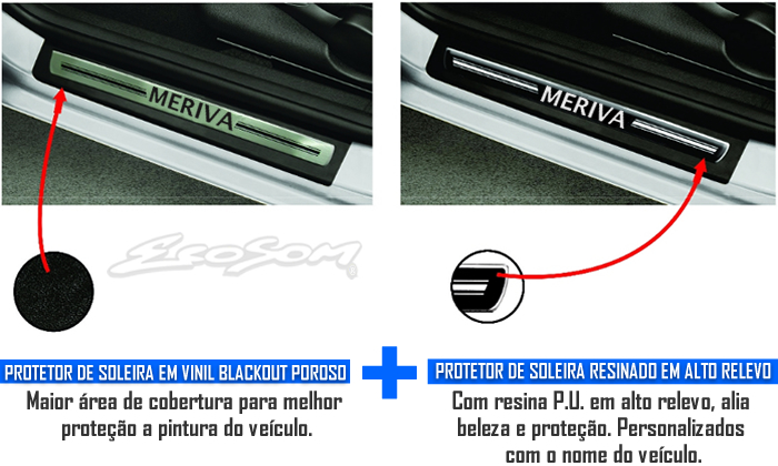 Jogo Soleira Premium Elegance Chevrolet Meriva 2003 2004 2005 2006 2007 2008 2009 2010 2011 2012 - 4 Portas ( Vinil + Resinada 8 Peças )