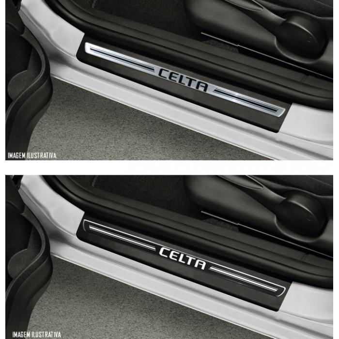 Jogo Soleira Premium Elegance Chevrolet Celta 4 Portas 2006 2007 2008 2009 2010 2011 2012 2013 2014 2015 - 4 Portas ( Vinil + Resinada 8 Peças )