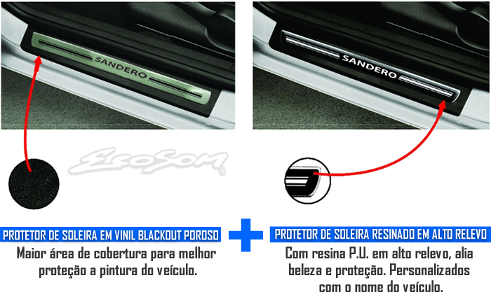 Jogo Soleira Premium Elegance Renault Sandero 2007 2008 2009 2010 2011 2012 2013 2014 2015 - 4 Portas ( Vinil + Resinada 8 Peças )
