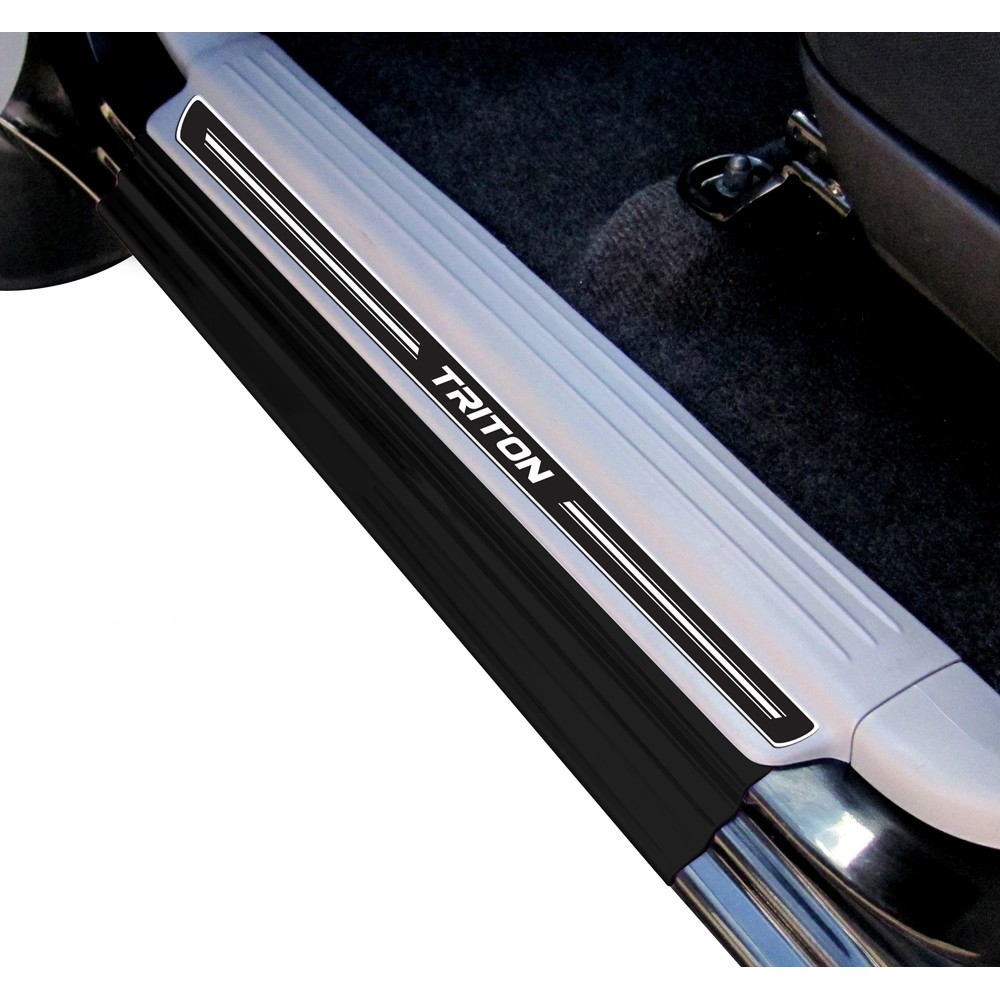 Jogo Soleira Premium Elegance Mitsubishi L200 Triton 2008 2009 2010 2011 2012 2013 2014 2015 2016 2017 2018 - 4 Portas ( Vinil + Resinada 8 Peças )