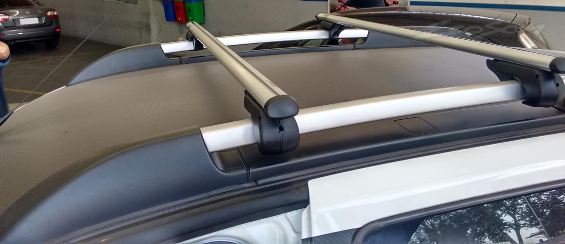 Rack Travessa Renault Duster 2013 2014 - Kiussi Belluno 117cm Alumínio Com Chave 50KG - Preto / Prata