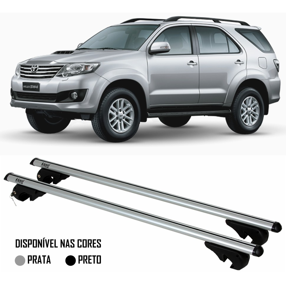Rack Travessa Toyota Hilux SW4 2006 2007 2008 2009 2010 2011 2012 2013 2014 2015 - Kiussi Belluno XL 130cm Alumínio Com Chave 50KG - Preto / Prata