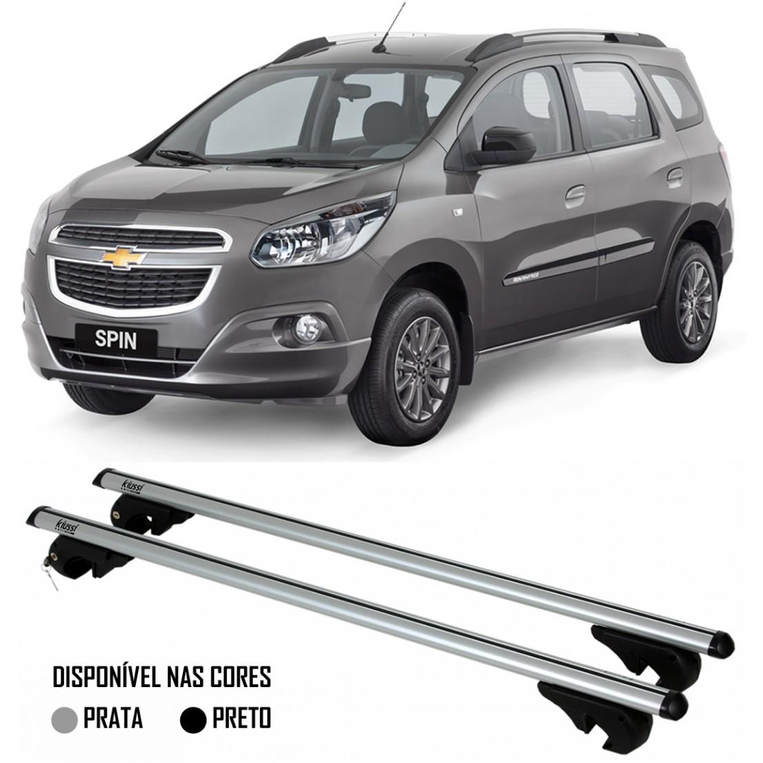 Rack Travessa Chevrolet Spin 2013 2014 2015 - Kiussi Belluno XL 130cm Alumínio Com Chave 50KG - Preto / Prata