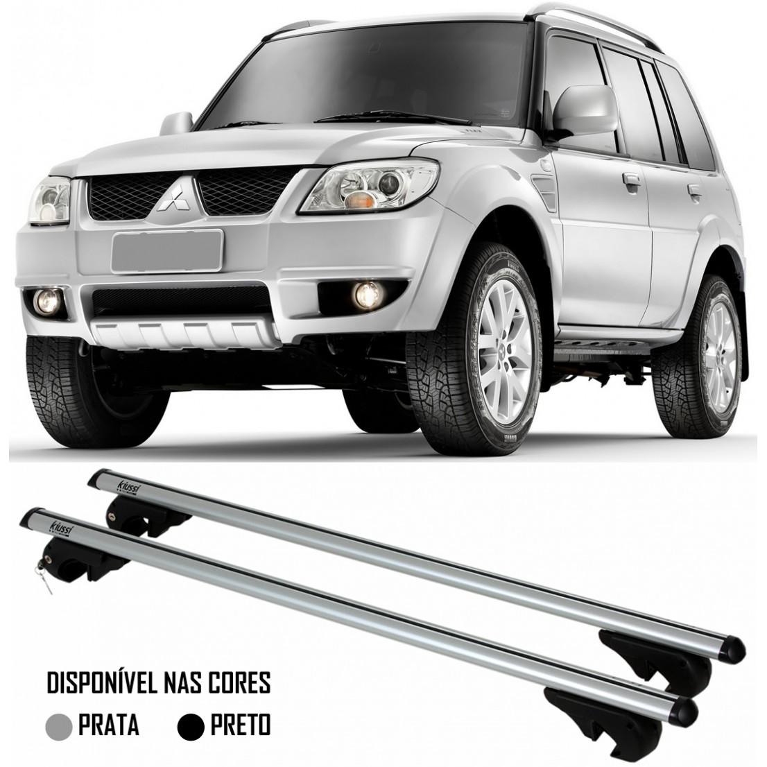 Rack Travessa Mitsubishi TR4 2007 2008 2009 2010 2011 2012 2013 2014 2015 - Kiussi Alumínio Com Chave 50KG - Preto / Prata