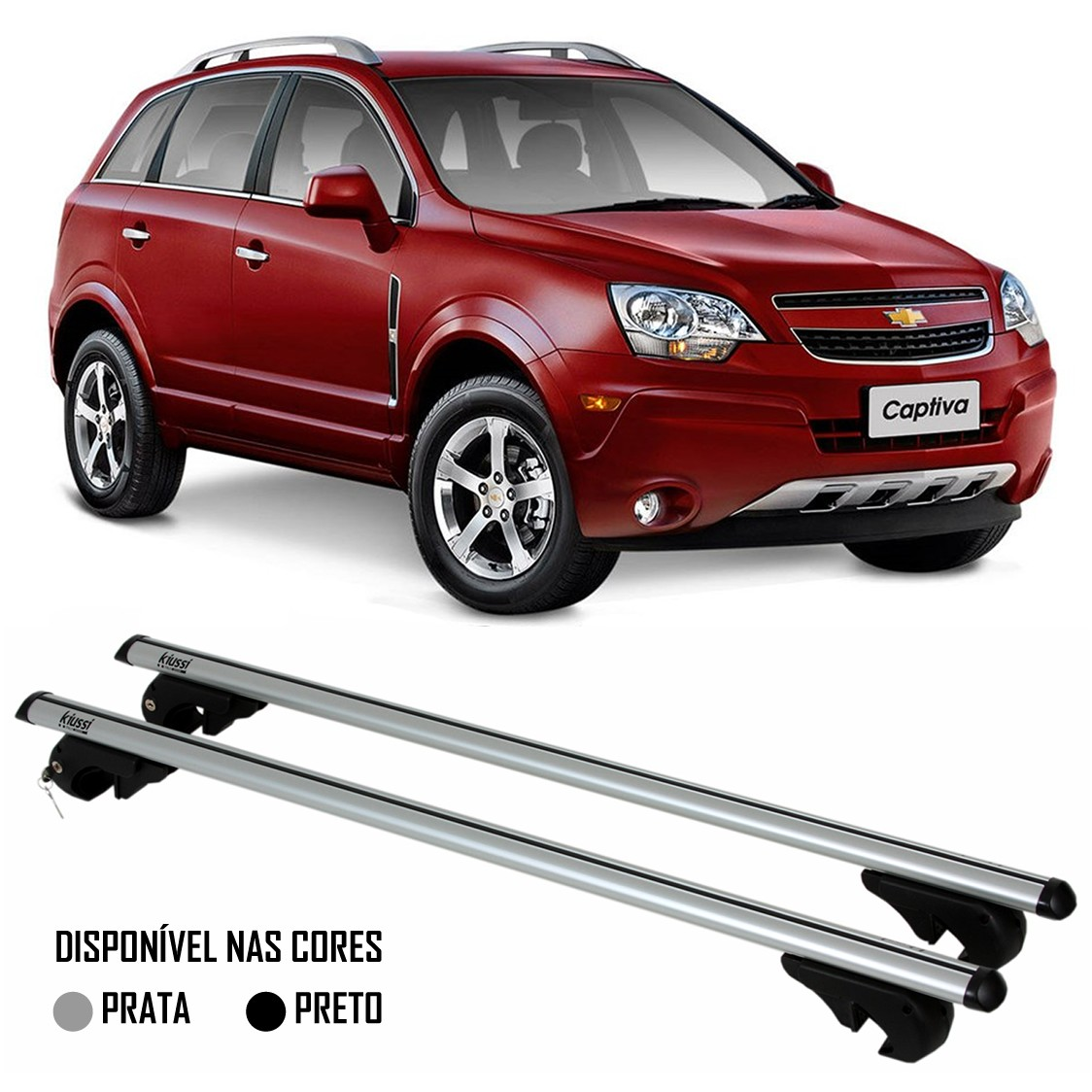 Rack Travessa Chevrolet Captiva 2007 2008 2009 2010 2011 2012 2013 2014 2015 - Kiussi Alumínio Com Chave 50KG - Preto / Prata