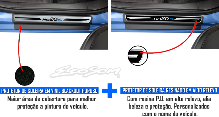 Jogo Soleira Premium Elegance Hyundai HB20S 2012 2013 2014 2015 2016 - 4 Portas ( Vinil + Resinada 8 Peças )