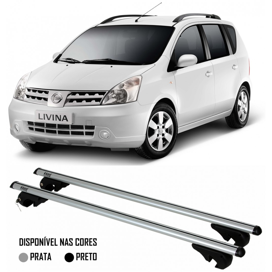 Rack Travessa Nissan Livina 2010 2011 2012 2013 2014 2015 Com Longarina - Kiussi Alumínio Com Chave 50KG - Preto / Prata
