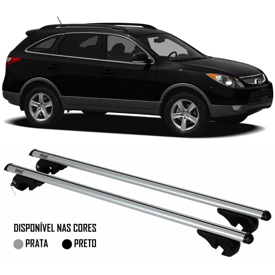 Rack Travessa Hyundai Vera Cruz 2007 2008 2009 2010 2011 2012 - Kiussi Alumínio Com Chave 50KG - Preto / Prata