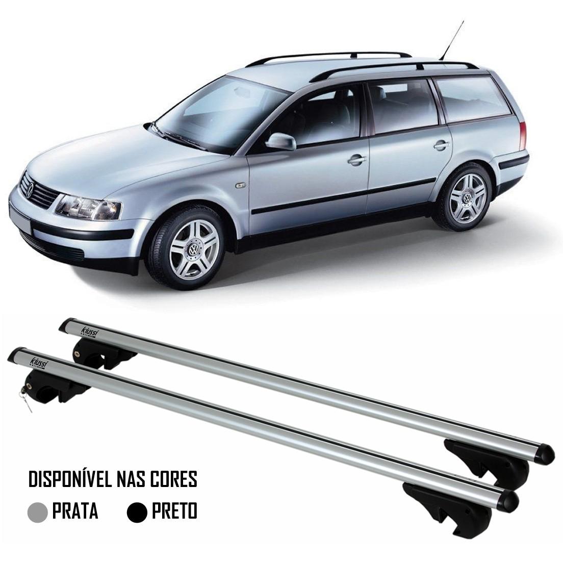 Rack Travessa Vw Passat Variant 1999 2001 2002 2003 2004 2005 - Kiussi Belluno 117cm Alumínio Com Chave 50KG - Preto / Prata
