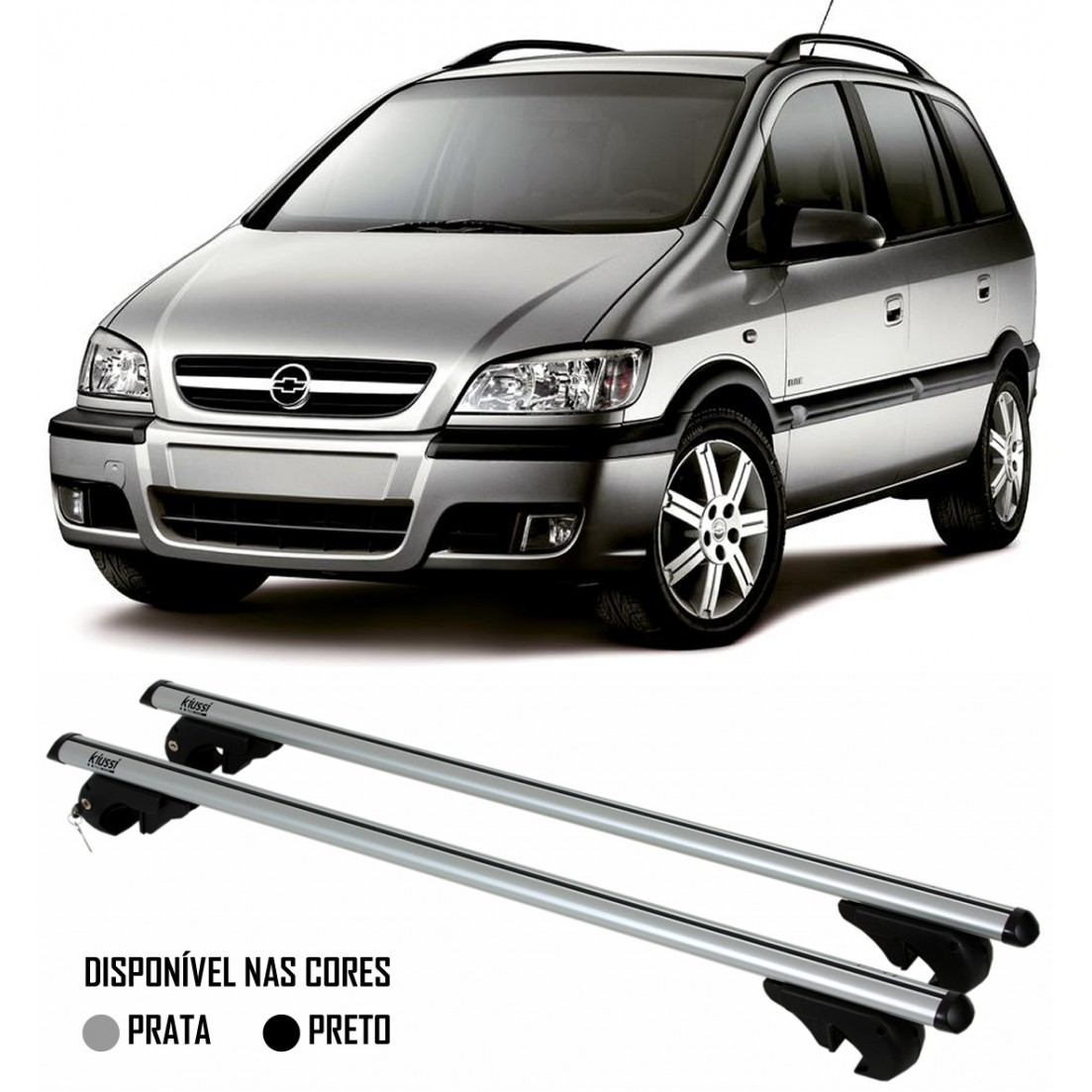 Rack Travessa Chevrolet Zafira 1998 À 2012 Com Longarina - Kiussi Belluno 117cm Alumínio Com Chave 50KG - Preto / Prata