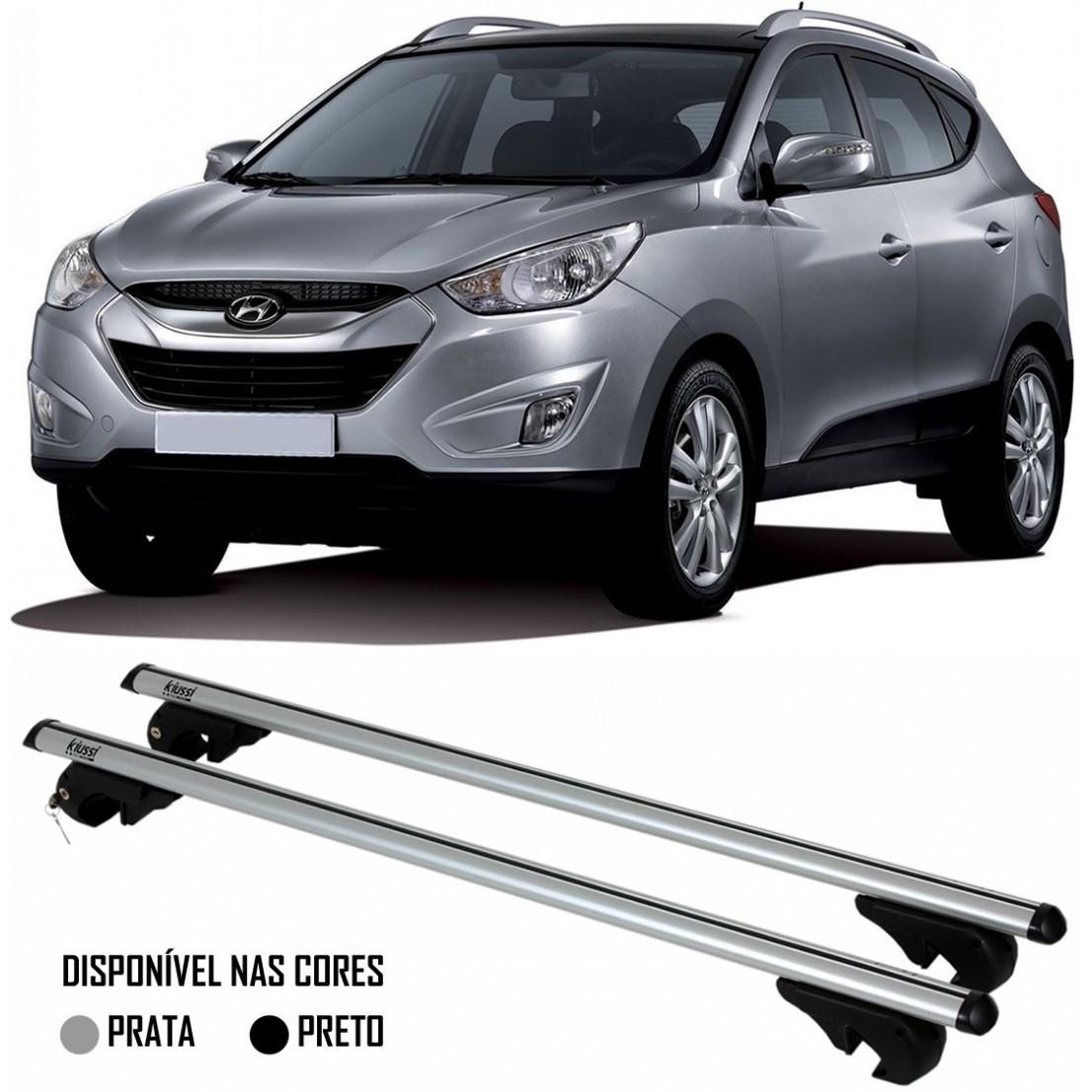 Rack Travessa Hyundai IX35 2010 2011 2012 2013 2014 2015 2016 - Kiussi Alumínio Com Chave 50KG - Preto / Prata