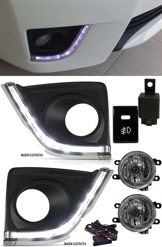 Kit Farol de Milha Neblina Toyota Corolla 2015 2016 2017 Com LED Daylight - DRL