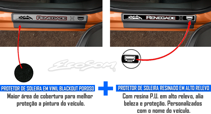 Jogo Soleira Premium Elegance Jeep Renegade 2015 2016 - 4 Portas ( Vinil + Resinada 8 Peças )