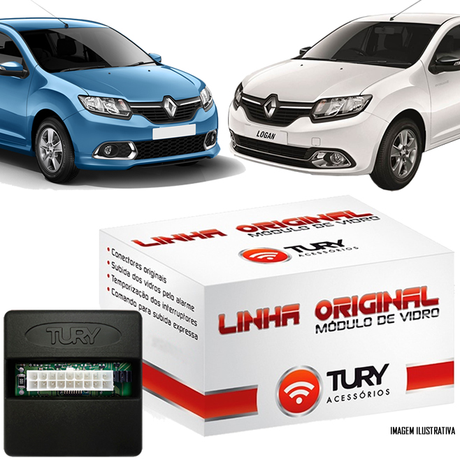 Módulo Original Subida De Vidro Tury Renault Logan Sandero 2014 2015 2 Vidros Traseiros - Conector Original - LVX8BW