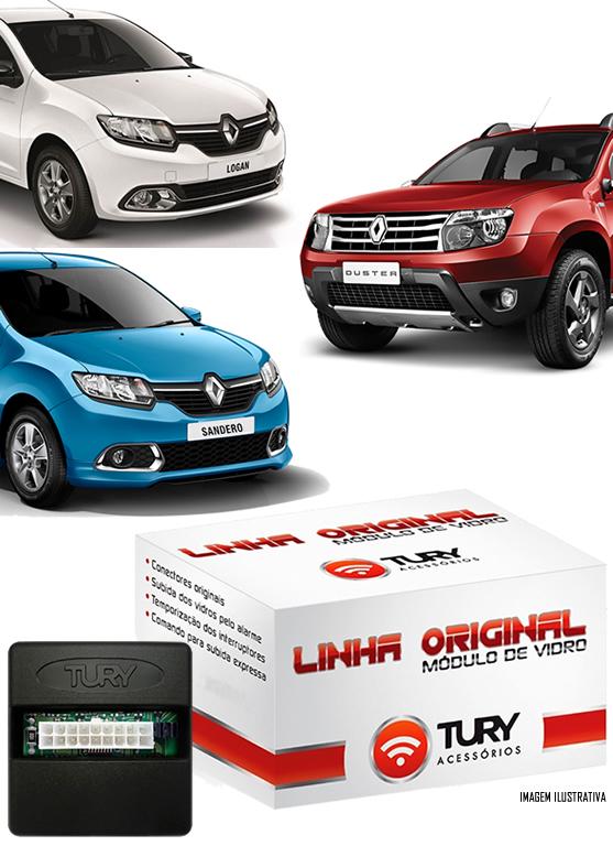 Módulo Original Subida De Vidro Tury Renault Logan Duster Sandero 2013 2014 2015 4 Portas - Conector Original - LVX8AW