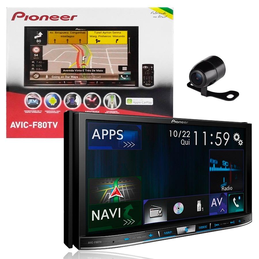 """Central Multimídia Pioneer 2 Din AVIC-F80TV Tela 7"""" Polegadas Com TV Digital, GPS, Bluetooth Entrada USB Mixtrax + 2 Encosto de Cabeça AV + Câmera Ré Grátis"""