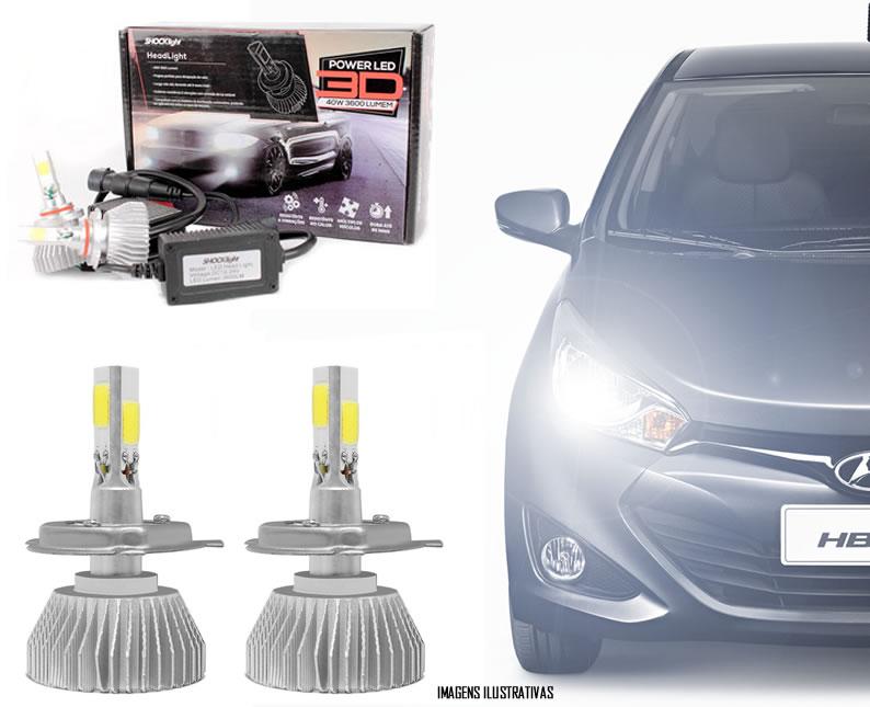 Kit Lâmpada Super LED 3D Headlight HB4 6000K 3600LM Efeito Xenon