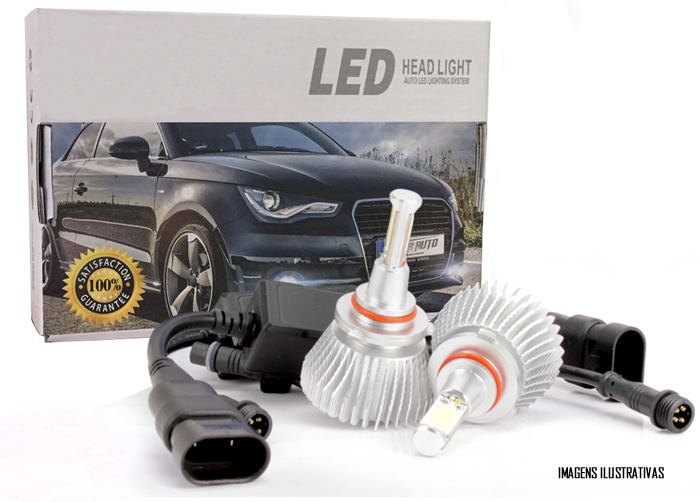 Kit Lâmpada Super LED Headlight H27 6000K 12V e 24V 32W 2200LM Efeito Xenon