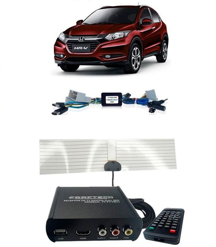 Kit Interface Desbloqueio De Video Honda Hrv 2015 2017 + Tv Digital Full HD - Hdmi - Faaftech
