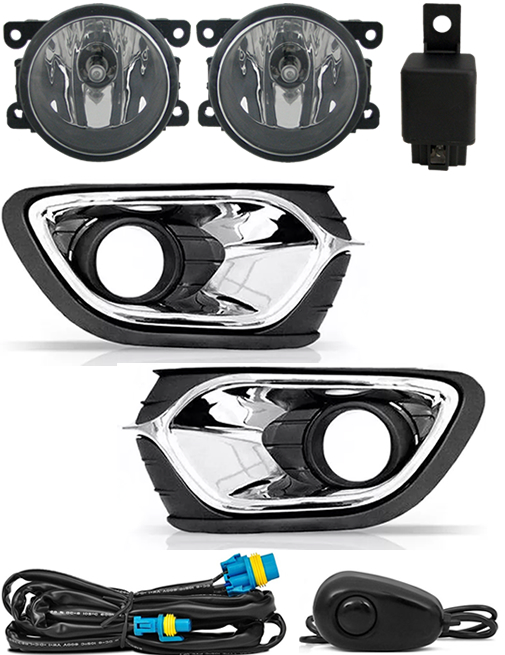 Kit Farol de Milha Neblina Renault Logan 2015 2016 2017 2018 2019 Interruptor Alternativo + Molduras Cromadas