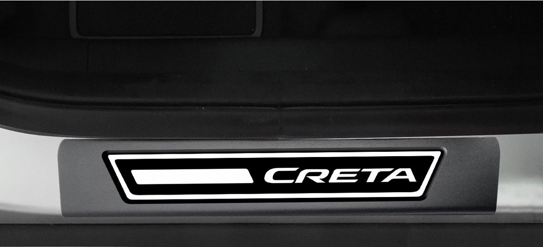 Jogo Soleira Premium Elegance Hyundai Creta 2017 - 4 Portas ( Vinil + Resinada 8 Peças )