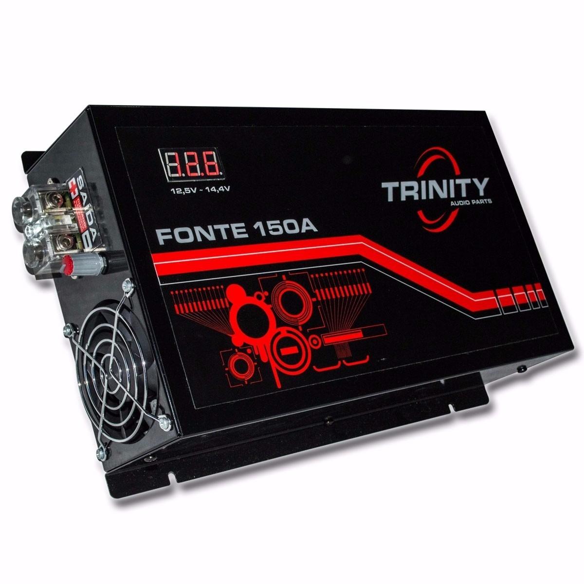 Fonte Automotiva Trinity 150A Bivolt Com Voltimetro 14,4v