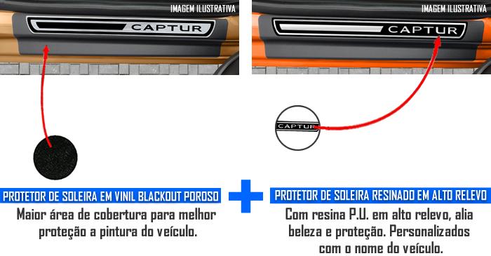 Jogo Soleira Premium Elegance Renault Captur 2017 em Diante - 4 Portas ( Vinil + Resinada 8 Peças )