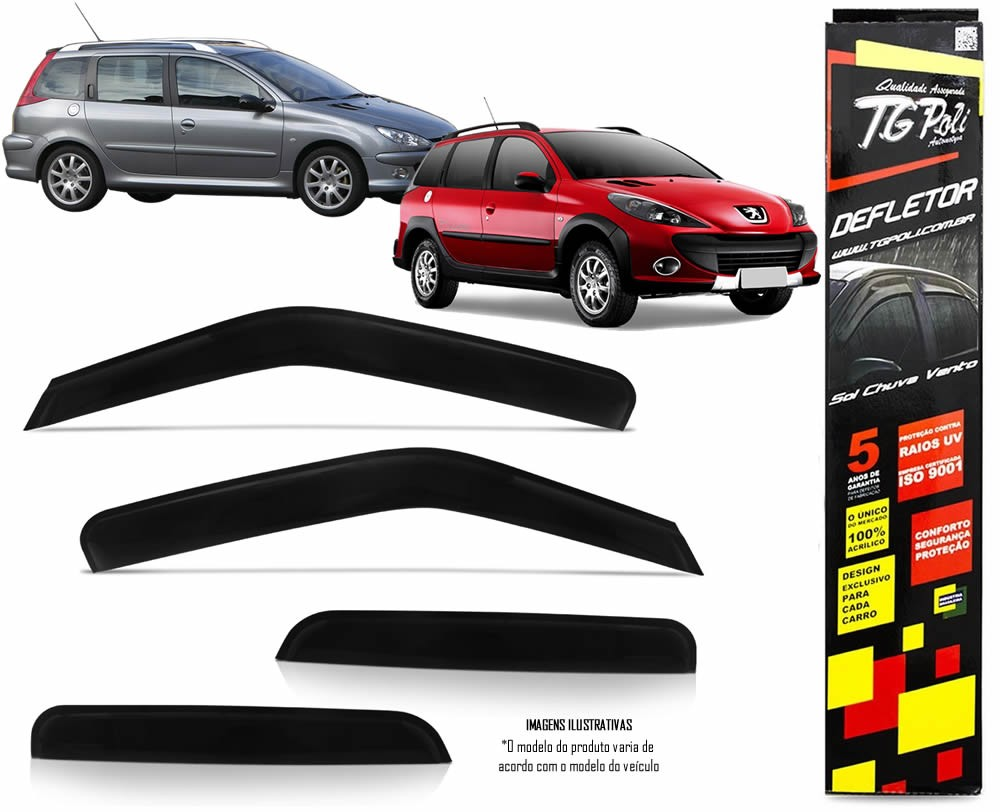 Calha Chuva Defletor TG Poli Peugeot 206 207 SW e Escapade 2000 2001 2002 2003 2004 2005 2006 2007 2008 2009 2010 2011 2012 2013 - 4 Portas