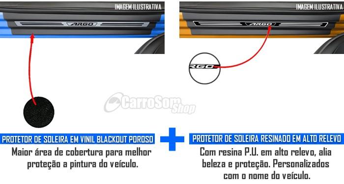 Jogo Soleira Premium Elegance Fiat Argo - 4 Portas ( Vinil + Resinada 8 Peças )