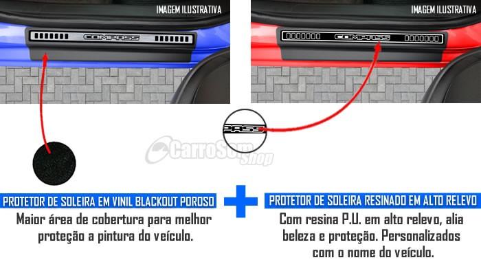 Jogo Soleira Premium Elegance Jeep Compass - 4 Portas ( Vinil + Resinada 8 Peças )