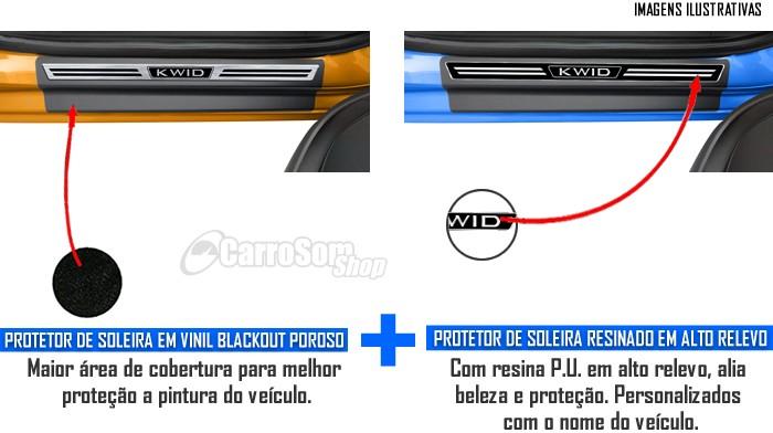 Jogo Soleira Premium Elegance Renault Kwid - 4 Portas ( Vinil + Resinada 8 Peças )