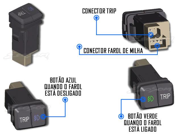 Kit Farol de Milha Neblina Hyundai HB20  2012 á 2015 com Interruptor Trip + Molduras